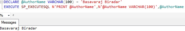 Must declare the scalar variable SP_EXECUTESQL