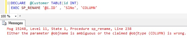 Rename column name in Sql Server 10