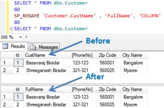 Rename column name in Sql Server 2
