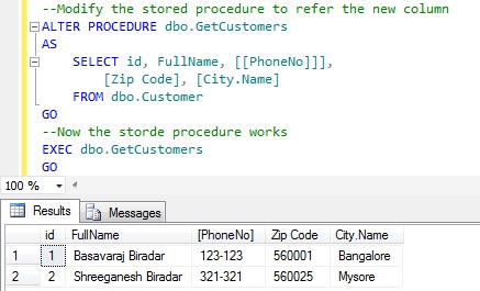 Rename column name in Sql Server 5
