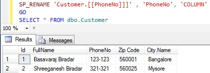 Rename column name in Sql Server 6