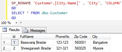 Rename column name in Sql Server 8