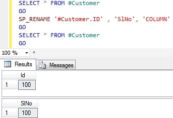 Rename column name in Sql Server 9