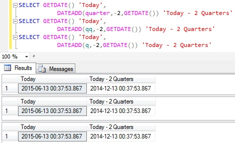 Subtract Quarters from Datetime in Sql Server