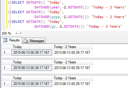 Subtract Years from Datetime in Sql Server