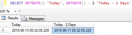Subtract days from Datetime in Sql Server 1