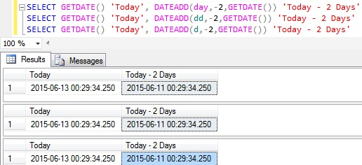 Subtract days from Datetime in Sql Server