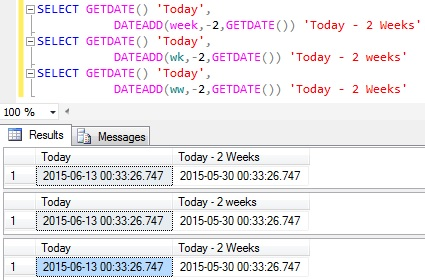 Subtract weeks from Datetime in Sql Server