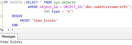 Check-View-Existence-using-sys.objects