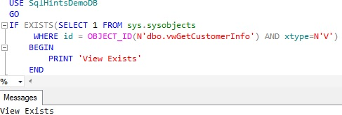Check-View-Existence-using-sys.sysobjects