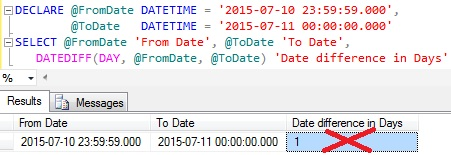 Date Difference in Days using DateDiff function