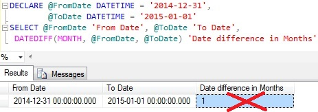 Date Difference in Months using DateDiff function