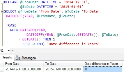 Sql date difference in Australia