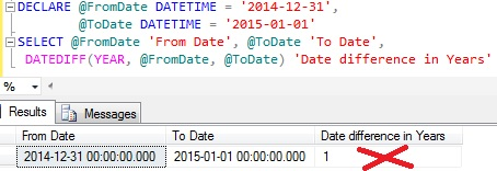 Date Difference in Years using DateDiff function