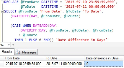 Difference between dates in days