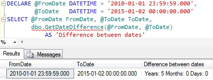 Difference between dates in years months and days by scalar function in sql