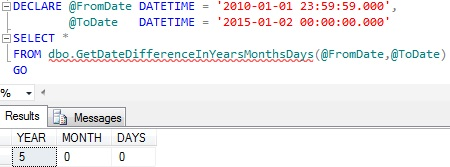 Difference between dates in years months and days by table valued function in sql