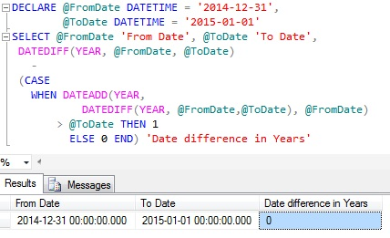 Difference between dates in years