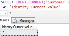 Identity Column Current value