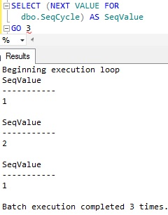 Sequence Cycle example Sql Server