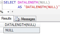 Sql DATALENGTH of NULL