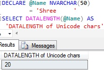 Sql DATALENGTH of Unicode Character Variable trailing spaces