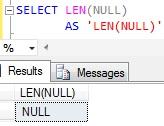 Sql LEN of NULL