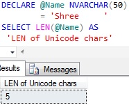 Sql LEN of Unicode Character Variable trailing spaces