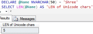 Sql LEN of Unicode Character Variable