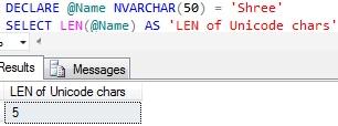 Sql LEN of Unicode Character Variable