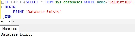 Check Database existence using sys.databases catalog view