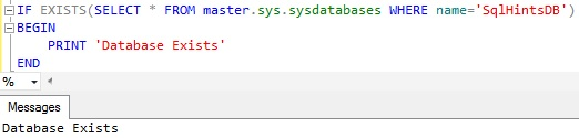 Check Database existence using sys sysdatabases system table ver2