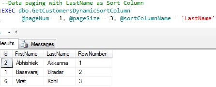 Data Paging by CTE dynamic Sort Column 2