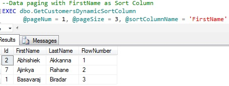 Data Paging by CTE dynamic Sort Column