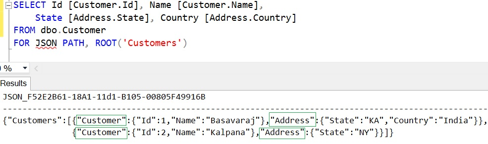 FOR JSON PATH dot symbol in the column aliases 2