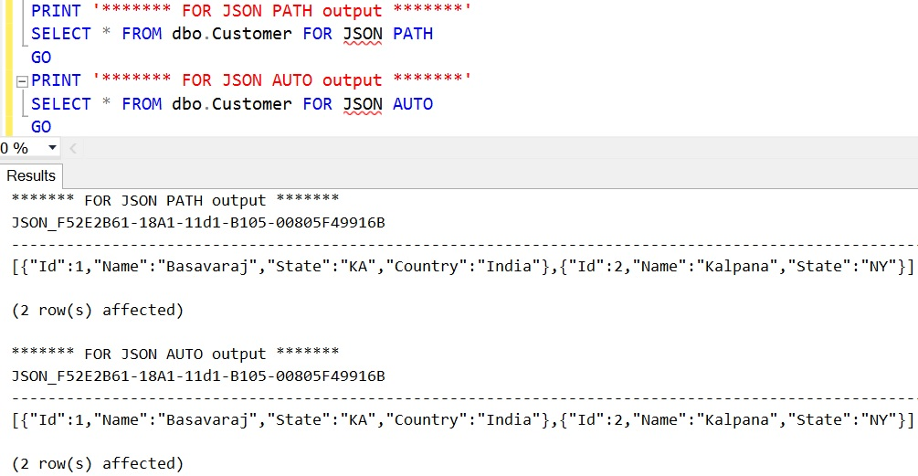 FOR JSON Sql Select All Columns