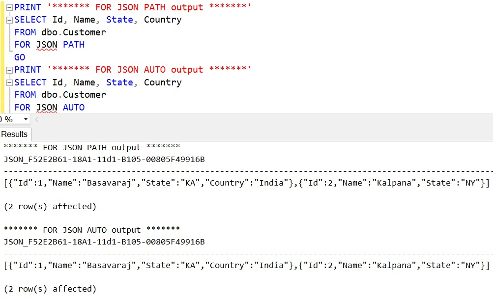 FOR JSON Sql Select Specified Columns