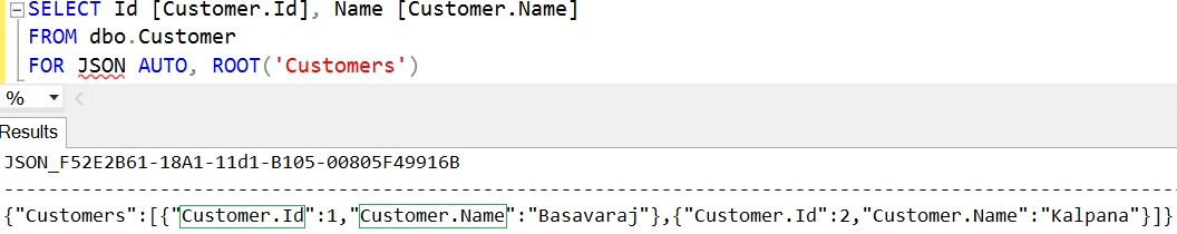 SQL FOR JSON AUTO using dot symbol in the column aliases