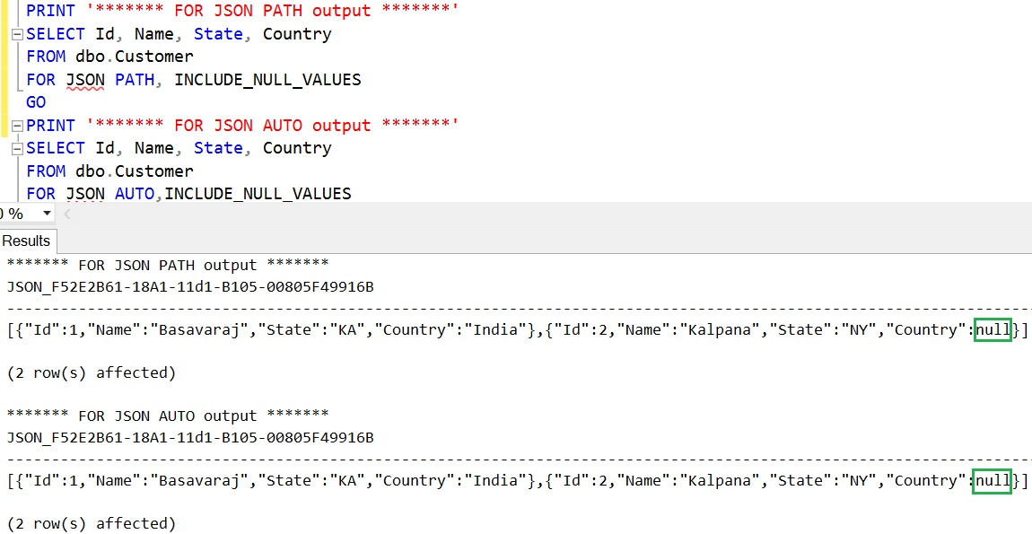 SQL FOR JSON INCLUDE NULL VALUES in Output