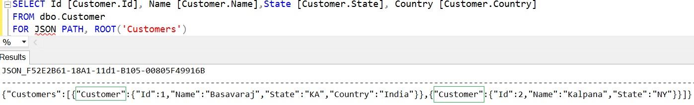 SQL FOR JSON using dot symbol in column name aliases