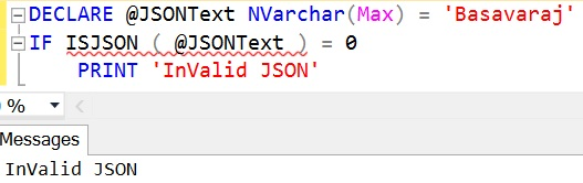 ISJSON InValid JSON