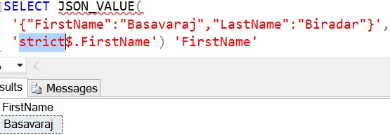 JSON Path mode lax and strict Example 4