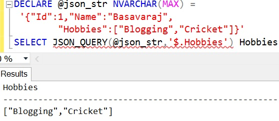 JSON_QUERY Sql Example 1 1