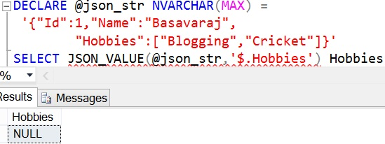 JSON_QUERY Sql Example 1 2