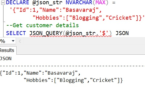 JSON_QUERY Sql Example 2