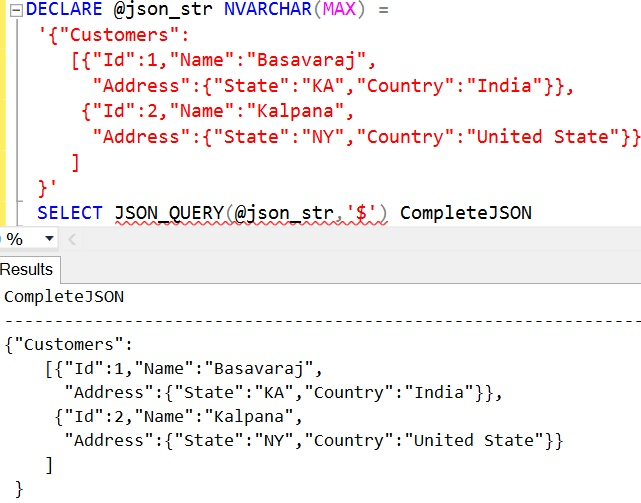 JSON_QUERY Sql Example 6