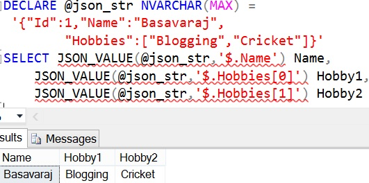 JSON_VALUE Sql Advance Example 1