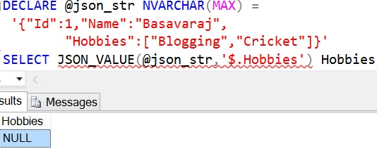 JSON_VALUE Sql Advance Example 2