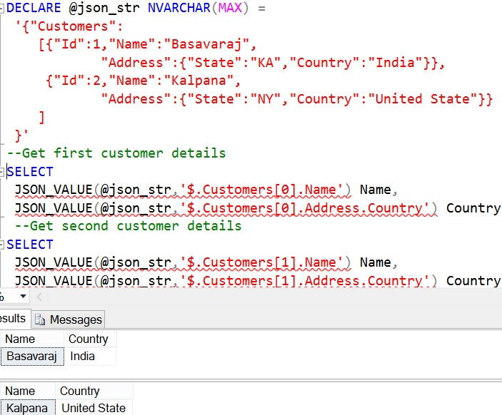 JSON_VALUE Sql Advance Example 3