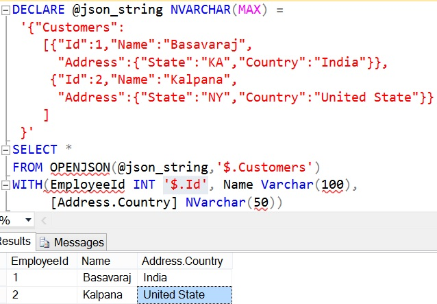 OPENJSON with explicit schema definition Example 3